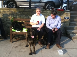 Kevin Morris on left, with guide dog, Trigger.